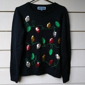 🍉$10 Karen Scott Holiday Lights Sweater Small